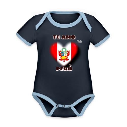 Te Amo Peru Corazon - Baby Bio-Kurzarm-Kontrastbody