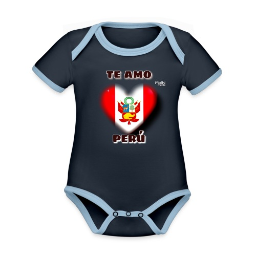 Te Amo Peru Corazon - Body Bébé bio contrasté manches courtes