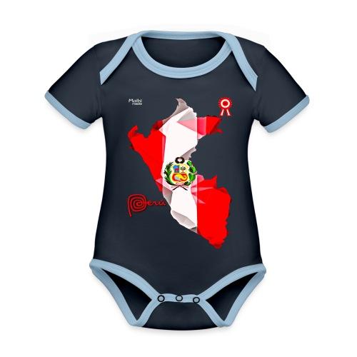 Mapa del Peru, Bandera und Escarapela - Baby Bio-Kurzarm-Kontrastbody