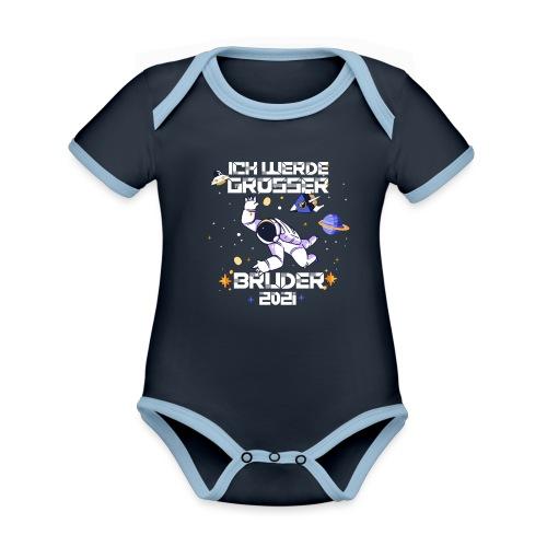 Großer Bruder 2021 Astronauten Astronaut Planeten - Baby Bio-Kurzarm-Kontrastbody