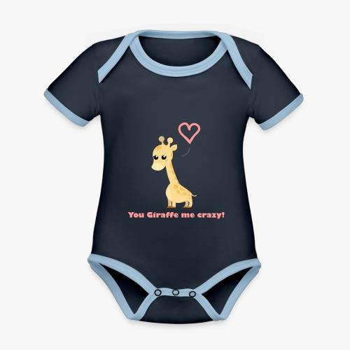 Giraffe Me Crazy - Kortærmet økologisk babybody i kontrastfarver