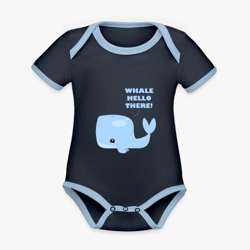 Whale Hello There - Kortærmet økologisk babybody i kontrastfarver