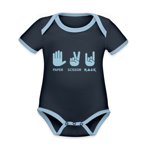paper scissors rock c - Baby contrasterend bio-rompertje met korte mouwen