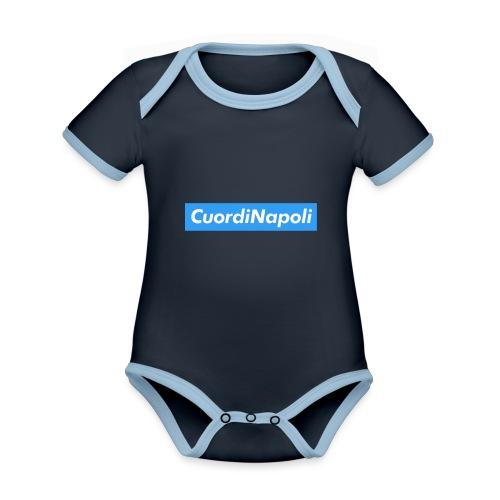 CuordiNapoli Young - Body da neonato a manica corta, ecologico e in contrasto cromatico