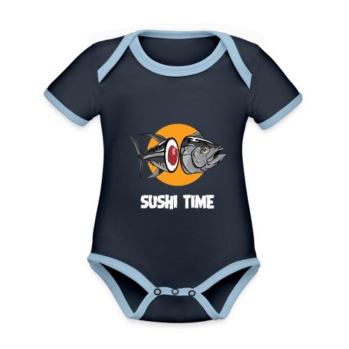 SUSHI TIME-tonno-b - Body da neonato a manica corta, ecologico e in contrasto cromatico
