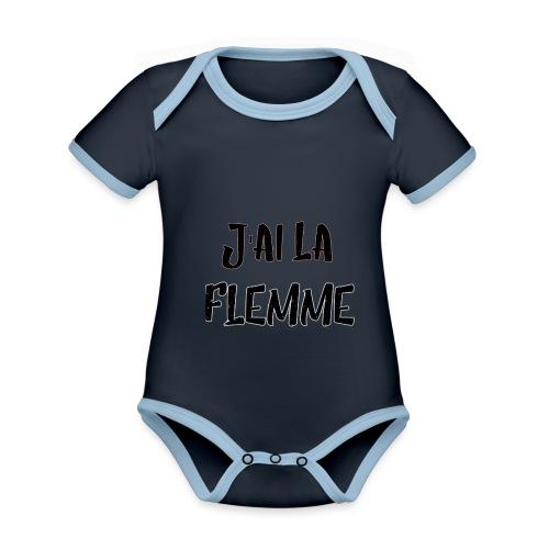 J'ai la FLEMME - Body Bébé bio contrasté manches courtes
