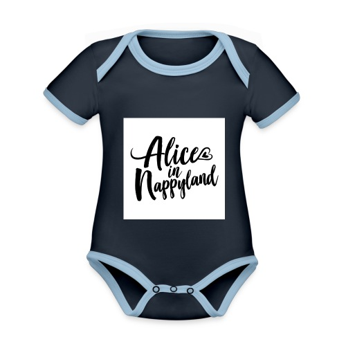 Alice in Nappyland Typography Black 1080 1 - Organic Baby Contrasting Bodysuit