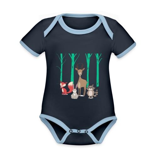 Las body dziecko - Ekologiczne body niemowlęce z krótkim rękawem i kontrastowymi lamówkami