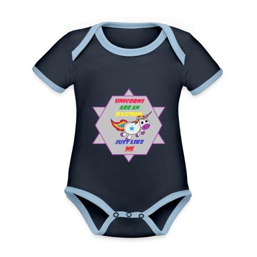 Unicorn with joke - Organic Baby Contrasting Bodysuit