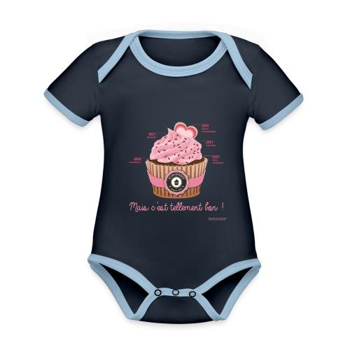 cupcake rose 2 - Body Bébé bio contrasté manches courtes