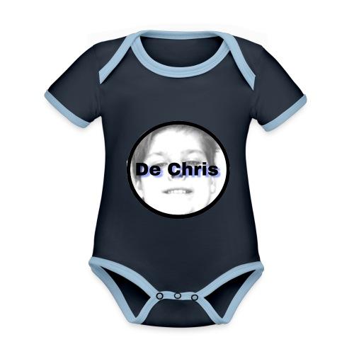 De Chris logo - Baby contrasterend bio-rompertje met korte mouwen