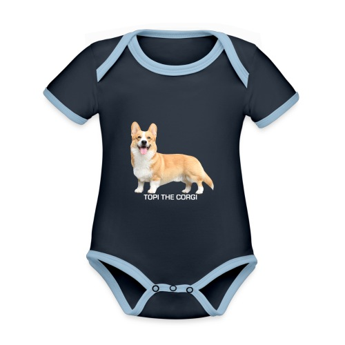 Topi the Corgi - White text - Organic Baby Contrasting Bodysuit