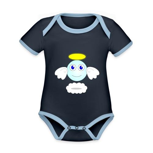 puff logo - Body da neonato a manica corta, ecologico e in contrasto cromatico