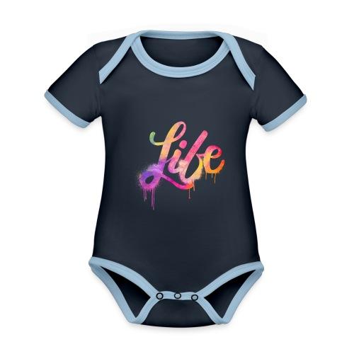 life - Body da neonato a manica corta, ecologico e in contrasto cromatico