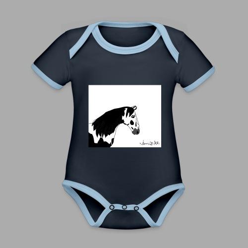 Pferdekopf mit Unterschrift - Baby Bio-Kurzarm-Kontrastbody