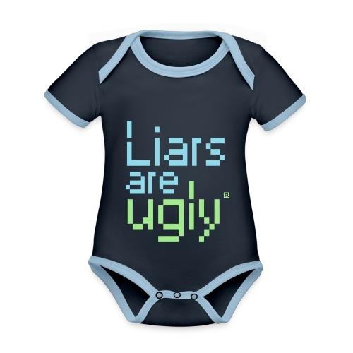 Liars Are Ugly - Baby contrasterend bio-rompertje met korte mouwen