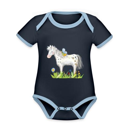 Fee. Das Pferd und die kleine Reiterin. - Baby Bio-Kurzarm-Kontrastbody