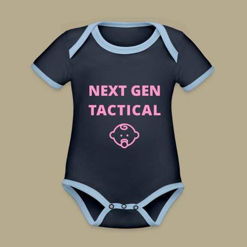 Tactical Baby Girl - Baby contrasterend bio-rompertje met korte mouwen