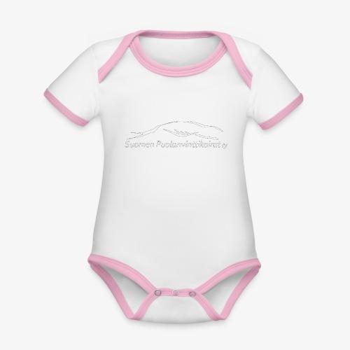 SUP logo valkea - Vauvan kontrastivärinen, lyhythihainen luomu-body