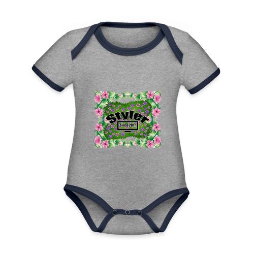 Styler Bloemen Design - Baby contrasterend bio-rompertje met korte mouwen