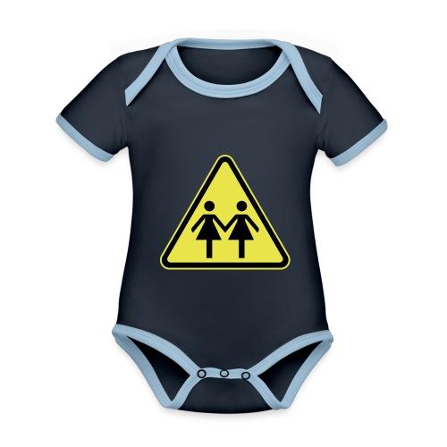 ACHTUNG LESBEN POWER! Motiv für lesbische Frauen - Baby Bio-Kurzarm-Kontrastbody