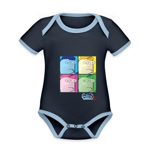 Commissario Warhol - Body da neonato a manica corta, ecologico e in contrasto cromatico