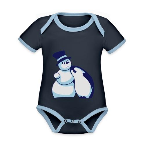 Schneemann und Pinguin - Baby Bio-Kurzarm-Kontrastbody
