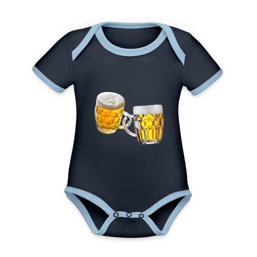 Boccali di birra - Body da neonato a manica corta, ecologico e in contrasto cromatico