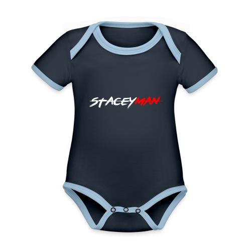 staceyman red design - Organic Baby Contrasting Bodysuit
