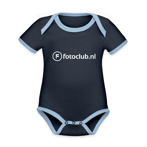 Logo Wit Fotoclublnl - Baby contrasterend bio-rompertje met korte mouwen
