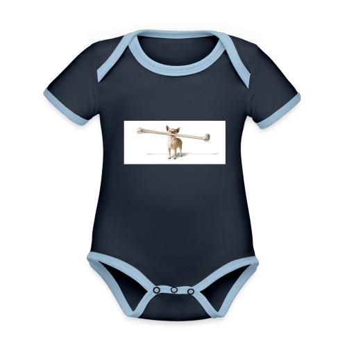 Tough Guy - Baby contrasterend bio-rompertje met korte mouwen