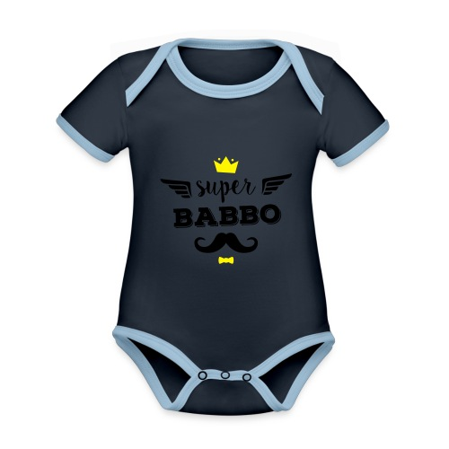 Super Babbo - Body da neonato a manica corta, ecologico e in contrasto cromatico