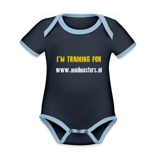 tshirt back - Baby contrasterend bio-rompertje met korte mouwen