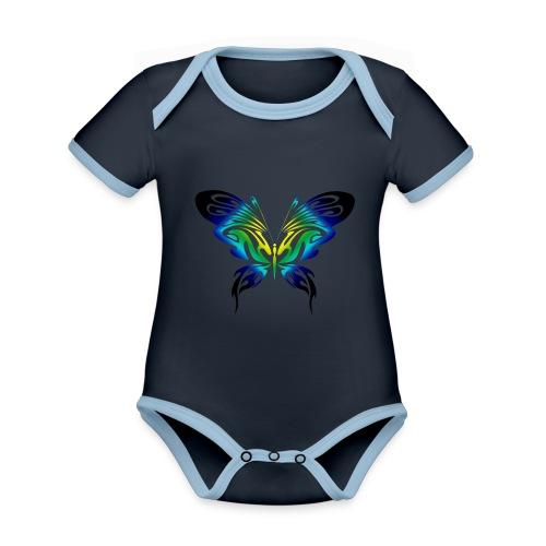 Motyl kolor - Ekologiczne body niemowlęce z krótkim rękawem i kontrastowymi lamówkami