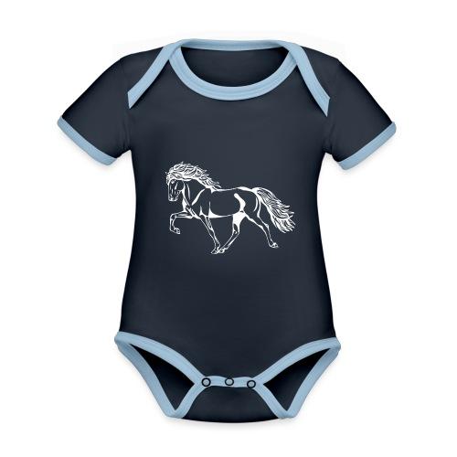 Weißer Tölter - Baby Bio-Kurzarm-Kontrastbody