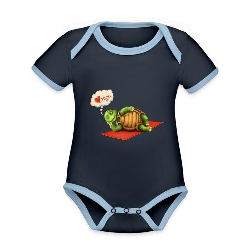 Love-Yoga Turtle - Baby Bio-Kurzarm-Kontrastbody