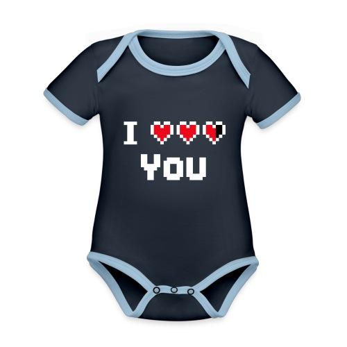 I pixelhearts you - Baby contrasterend bio-rompertje met korte mouwen