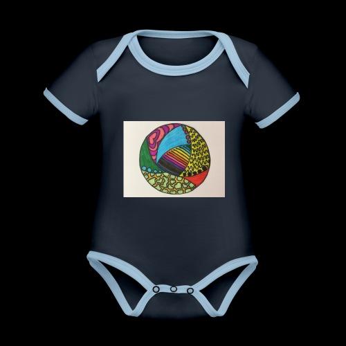 circle corlor - Kortærmet økologisk babybody i kontrastfarver