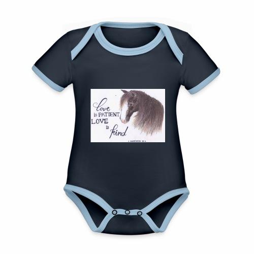 Pferd mit Bibelvers - Baby Bio-Kurzarm-Kontrastbody