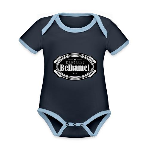 Dekselse belhamel - Baby contrasterend bio-rompertje met korte mouwen