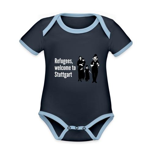 Refugees welcome - Baby Bio-Kurzarm-Kontrastbody