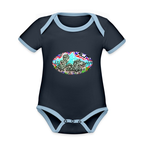 Across the Tracks Blur - Organic Baby Contrasting Bodysuit
