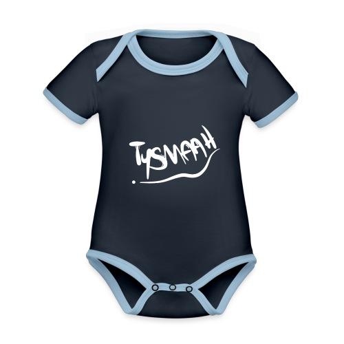 Logo blanc - TYSMAAH - Body Bébé bio contrasté manches courtes