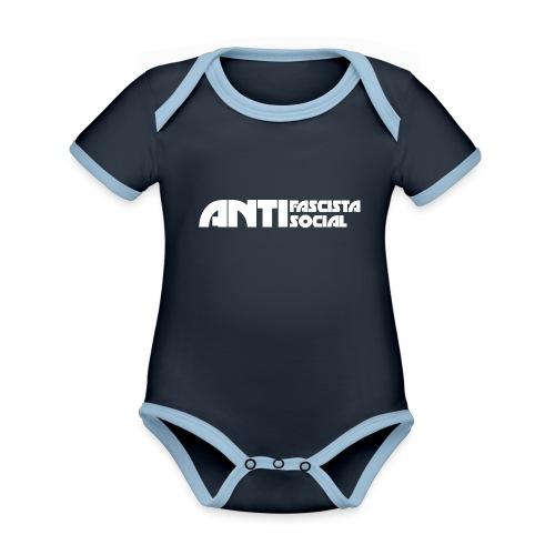 Antifaso_vit - Ekologisk kontrastfärgad kortärmad babybody