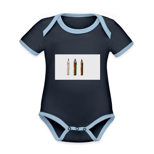 pencil - Body da neonato a manica corta, ecologico e in contrasto cromatico