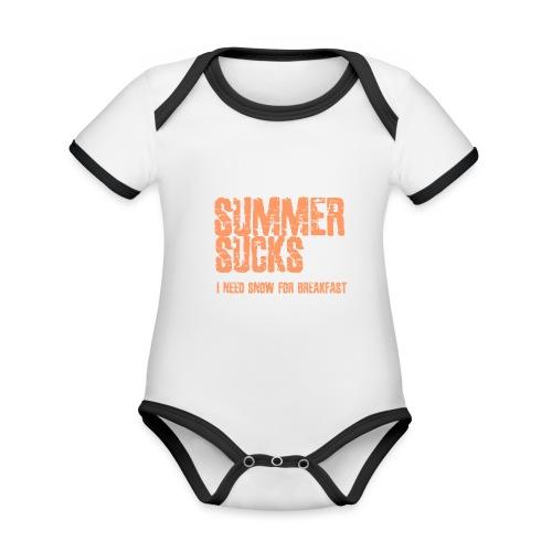 SUMMER SUCKS - Baby contrasterend bio-rompertje met korte mouwen