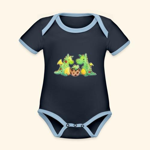 Drachenfamilie - Baby Bio-Kurzarm-Kontrastbody