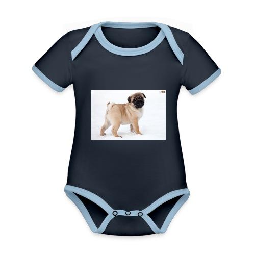 walker family pug merch - Organic Baby Contrasting Bodysuit