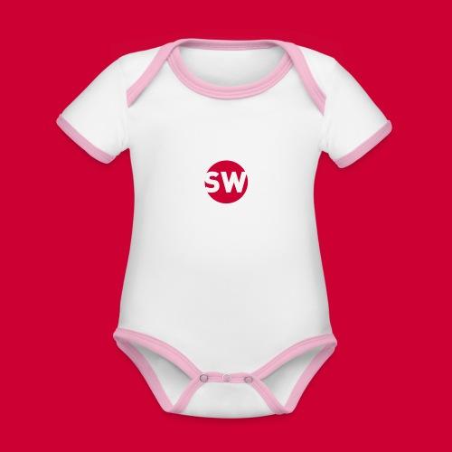 #Schiphol - krimpen of verhuizen! - Baby contrasterend bio-rompertje met korte mouwen
