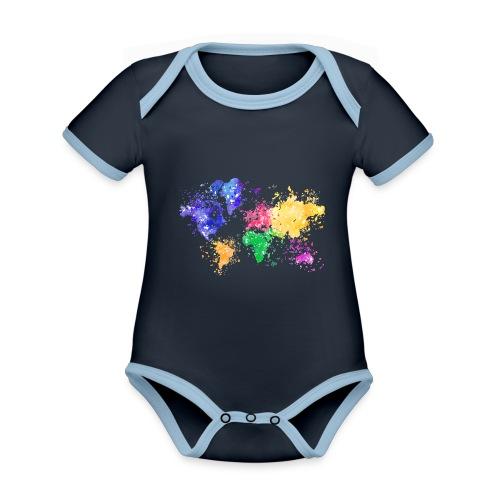 Wanderlust Map - Baby Bio-Kurzarm-Kontrastbody